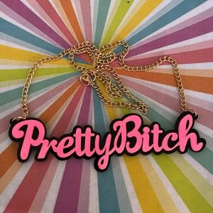 ✨Pretty B*tch Hot Pink & Black Acrylic Necklace